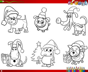 cartoon dogs on Christmas set coloring book