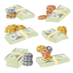 Realistic Money Stacks Vector. Dollar Banknotes. Cash Symbol. Money Bill Isolated Illustration.