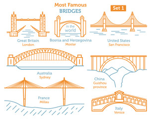 Most famous bridges in the world. Landmarks linear style ison set. Possible use in infographic design