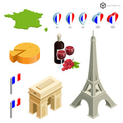 Icons of france in isometric, eiffel and food of france in isometric