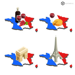 Map of France in isometric buildings and wine with cheese