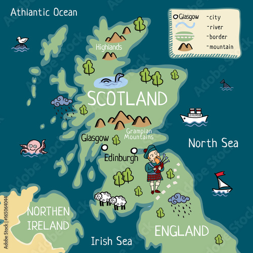 Map Of England For Kids.Cartoon Map Of United Kingdom For Kids Stock Image And Royalty