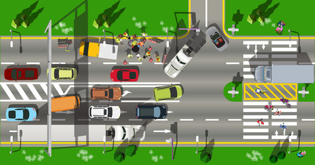 Top view city scape traffic jam