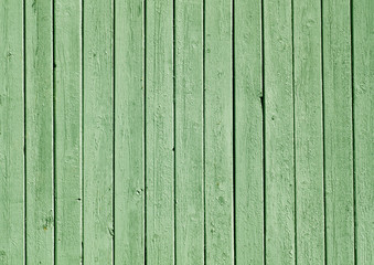 Green color painted wooden plank pattern.