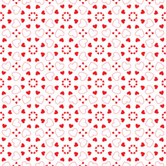 Romantic red background of hearts. Wrapping paper. Pattern for fabric