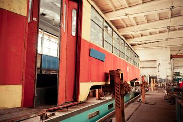 Old tram in the repair shop