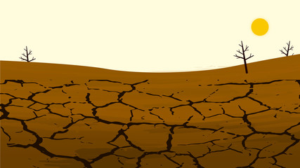 Dry cracked land in the farming field. Rural landscape. Design elements for info graphic, websites and print media. Vector illustration