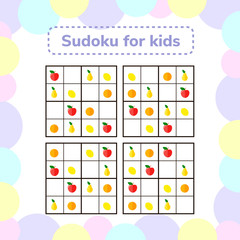 vector illustration. Sudoku game for children with pictures. Logic game for preschool children. Educational game. rhombus, star, square, circle. rebus for children. Apples, pears, oranges, lemons.