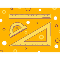 vector illustration, ruler, triangle and protractor, line art, orange background with pattern of circles, back to school