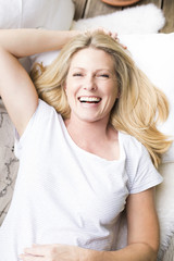 Portrait of laughing blond woman