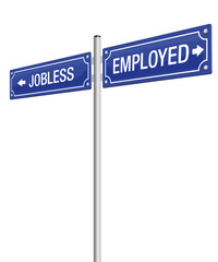 JOBLESS and EMPLOYED written on a blue guidepost - isolated vector illustration on white background.