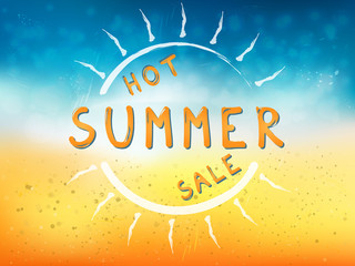 Hot summer sale background with sun and text. Vector illustration of a glowing Summer time background.