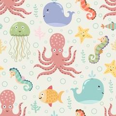 Underwater seamless pattern on light background. Funny vector illustration