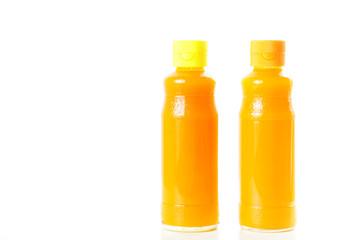 Mango juice glass bottle. Isolated on white background