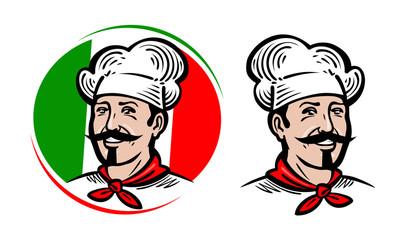 Chef, logo. Italian food, pizza, restaurant, menu label. Cartoon vector illustration