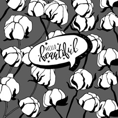 Hand drawn cotton plant in vintage style. cotton, white, flower, plant, vector