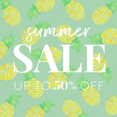 Pineapples - Watercolor Summer Sale Banner Green