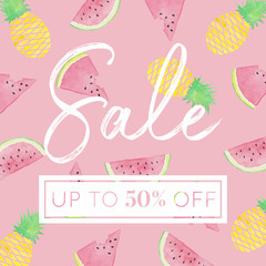 Pineapples and Watermelon Slices - Watercolor Sale Banner Pink