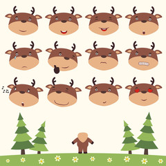Emoticons set face of reindeer in cartoon style. Collection isolated heads of reindeer in different emotion and his body on meadow with trees.