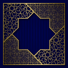 Golden cover background with traditional patterned square frame in eight pointed star form.