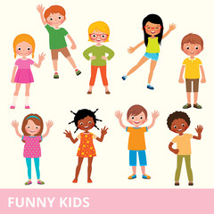Set of children of different nationalities in various poses laughing and having fun
