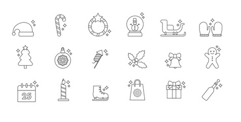 Vector christmas icon set with line icons