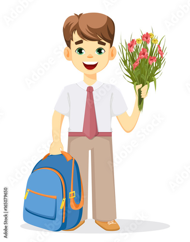 Schoolboy with backpack and bouquet of flowers. Coming back to school. Cute  smiling boy 5ab14b7d762e1