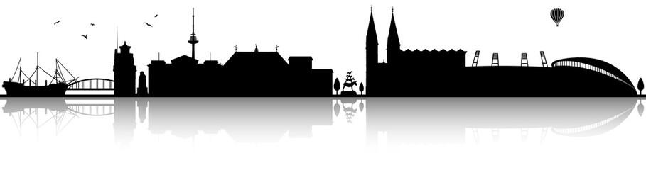 Bremen Skyline Silhouette schwarz