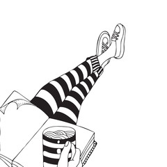 Someone is sitting and drinking coffee. People legs. Black and white. Cartoon style. Doodle, vector.
