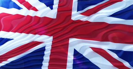 Closeup of Union Jack flag. Flag of UK. Flying Flag of United Kingdom