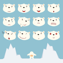 Emoticons set face of polar bear in cartoon style. Collection isolated heads of polar bear in different emotion and body on ice.