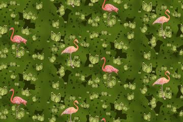 Flamingos vor grünem Laub als nahtloses Muster exklusiv