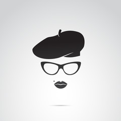 Parisian woman vector icon.