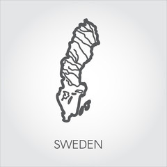 Line icon of border map Sweden. Country contour shape in thin line style. Vector illustration on a gray background