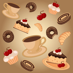 Background with coffee and sweets