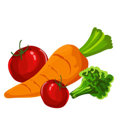 Tomato and Carrot Cartoon style with Isolated Background