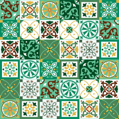 Garden Poster Moroccan Tiles Portuguese traditional ornate azulejo, different types of tiles 6x6, seamless vector pattern in yellow, green and white colors