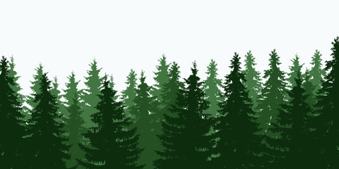 Vector illustration of green tree forest toppings under a gray sky, isolated with space for text