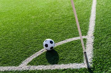 Soccer Football on Corner line for Co