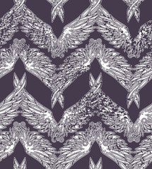 Repeated pattern. Seamless texture with beautiful white wings on violet background. It can be used as wallpaper, printing, wrapping, fabric or background for your blog and your design.