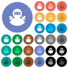 Ninja avatar round flat multi colored icons