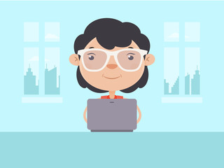 Young Girl Working on Laptop at Home. Flat Design Style.