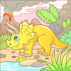 Cartoon cute triceratops funny image