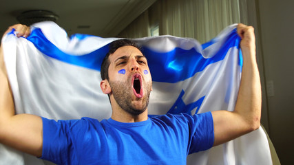 Israeli Guy Celebrating with Israel Flag