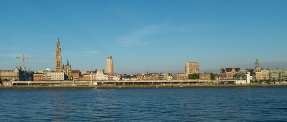 Panoramic view of the skyline of Antwerp.