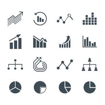 Charts and graphs icons set. Flat vector signs and symbols.
