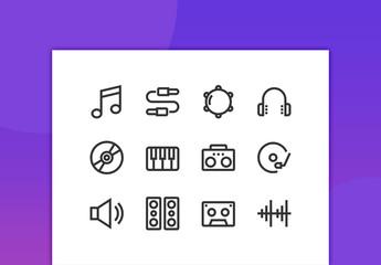Music Line Icons