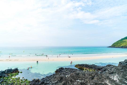 View point at hamdeok beach in Jeju Island.