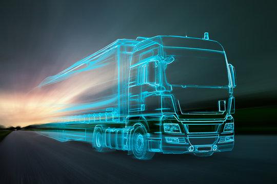 Truck aus Lichtern auf Landstraße