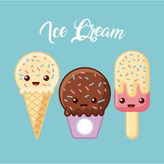 ice cream delicious cartoon icon vector illustration design graphic